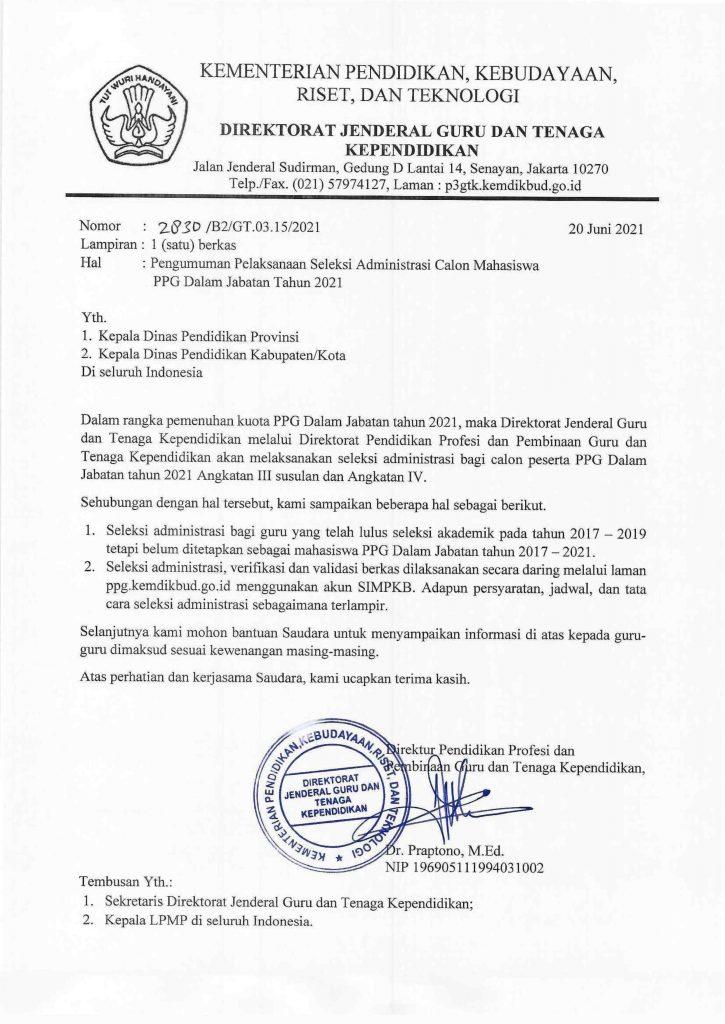 Seleksi Administrasi PPG Dalam Jabatan Tahun 2021 Angkatan III Susulan dan Angkatan IV